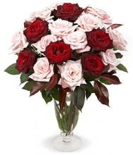 6pcs Red & 6 Pink  Roses in a Vase