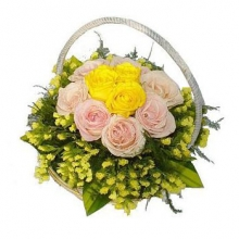 Yellow & Pink  Roses in a Basket