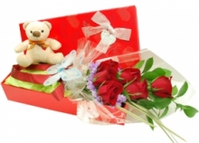 6 Red Roses in a Box with Mini bear