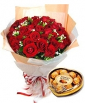 24 red roses bouquet with chocolate