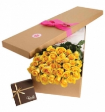 36 pcs Yellow Roses in a Box with chocolate box