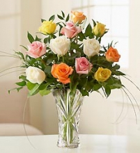 1 Dozen Mixed Roses in a Glass Vase