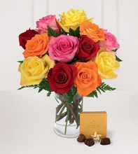 1 Dozen multicolored Roses in a Vase