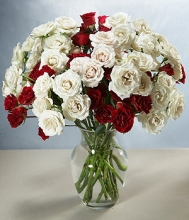 4 Dozen Red & White Roses in a Vase