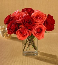 1 Dozen Red & Orange Roses in a Vase