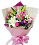 12 Pink Roses w/ 3 Lilies in Bouquet