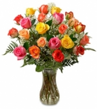 2 Dozen Red ,Yellow & Pink Roses in Vase