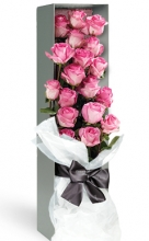 12 Pink Roses in a Box