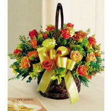 3 Dozen Orange Roses in a Basket