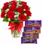 12 Red Roses Vase with Cadbury Dairy Milk 4 Varieties