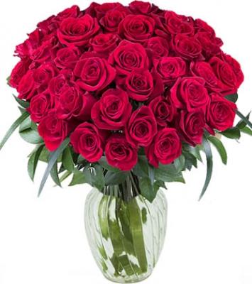 50 Red Roses In Vase