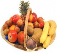 Christmas Fruit Apples, Bananas in low round Basket