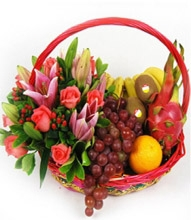 Fruitful Abundance Basket w/Stargazer Pink
