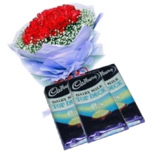 24 Red Roses in Bouquet with Chocolate