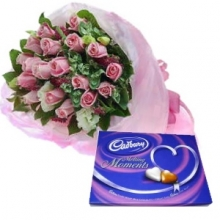 24 Pink Roses in Bouquet with Chocolate