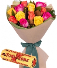 24 Mix Color Roses in Bouquet w/ Chocolate