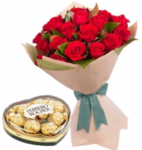 12 Red Roses in Bouquet with Ferrero Chocolate