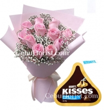 10 Pcs Pink Roses with Chocolate
