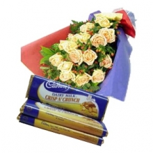 12 Yellow Roses in Bouquet with Chocolate
