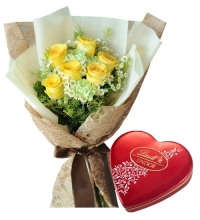 6 Yellow Roses in Bouquet with Chocolate