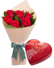6 Red Roses Bouquet with Chocolate