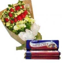 12 mix Roses in Bouquet with Chocolate