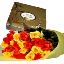 12 Yellow & Red  Roses in Bouquet with Cohocolate