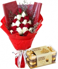 24 Mixed Roses  Roses in Bouquet with Chocolate