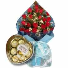 24  Red Roses in Bouquet with Ferrero Chocolate