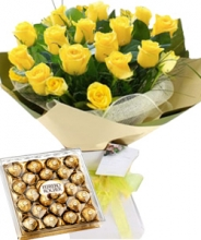 12 Yellow & White Roses in Bouquet with Chocolate