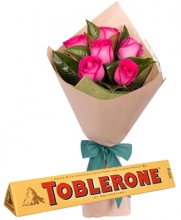 6 Pcs Roses Pink with Toblerone Chocolate