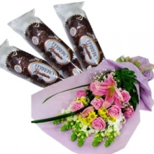 12 Pink Roses in Bouquet with Cohocolate