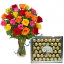 24 Multi Color Roses in Bouquet w/ Chocolate