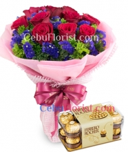 12 Red Roses in Bouquet with Chocolate