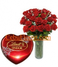 12 Red Roses in Vase with Lindor, Swiss Chocolate