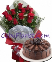 24 Red Rose Bouquet with Red Ribbon Chocolate Indulgence Cake