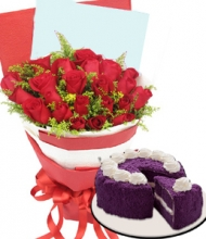 24 Red Rose Bouquet w/ Ube Cake By Red Ribbon