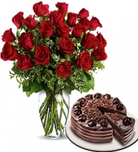 24 Red Rose Vase with Red Ribbon Chocolate Cake