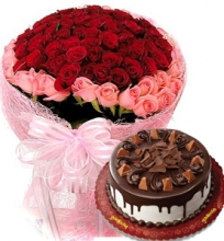 48 Red & Pink Rose Bouquet with Chocolate Cake