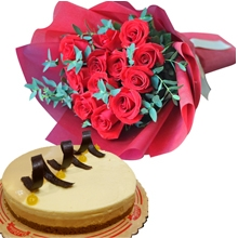 12 Red Rose Bouquet with Caramel Mango Mousse Cake
