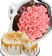 24 Pink Roses in Bouquet with Red Ribbon Coffee Crunch Cake