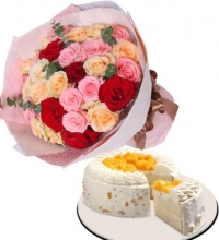 24 Mix Rose Bouquet with Red Ribbon Mango Cake