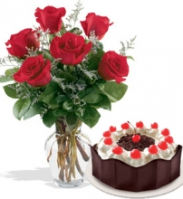 6 Red Roses in Vase w/ Red Ribbon Black Forest Cake