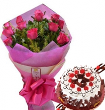 12 Pink Roses in Bouquet with Black Forest Cake
