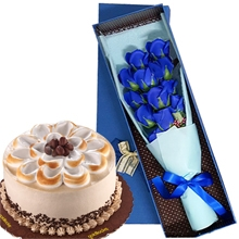 12 Blue Roses Box with Coffee Latte Cake