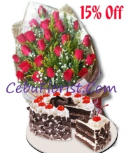 24 Red Roses in Bouquet with Red Ribbon Black Forest Cake