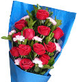 12 Deepest Red Roses bouquet