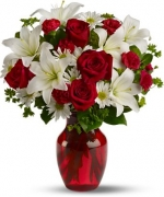 12 Red Rose & 6 Lily in Vase