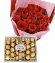12 Red Roses bouquet with 24 pcs Ferrero chocolate