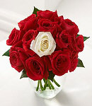11 Red Rose w/ One White Rose in Free Vase